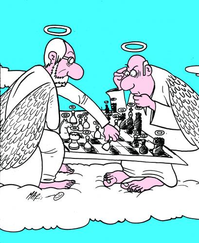 Cartoon: JUEGO SANTO (medium) by Mario Almaraz tagged cielo,angeles
