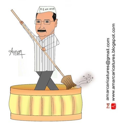 Cartoon: Arvind Kejriwal Caricature (medium) by Amar cartoonist tagged arvind,kejriwal,caricature