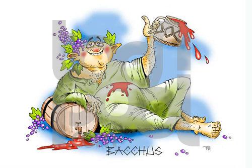 Cartoon: Bacchus (large) by paraistvan tagged mithology,god,wine,bacchus