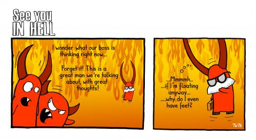 Cartoon: See you in hell (medium) by Tobias Wieland tagged see,you,in,hell,hölle,teufel,devil,religion,fun,funny,humor,humour,,comic,strip,hölle,teufel,religion