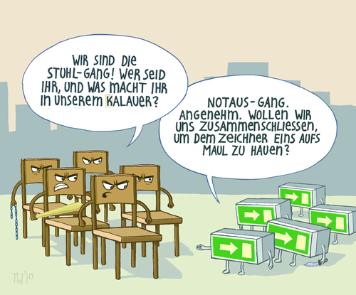 Cartoon: worst Kalauer ever (medium) by Tobias Wieland tagged stuhl,notausgang,kalauer,stuhlgang