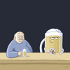 Cartoon: Feierabend (small) by Tobias Wieland tagged bier,kneipe,bar,tresen,theke,trinken,surreal,absurd