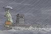 Cartoon: New York (small) by Tobias Wieland tagged new,york,sturm,karikatur,hurrikan,hurricane,sandy,evakuierung,jahrhundertsturm,usa,ostküste,regen,wetter