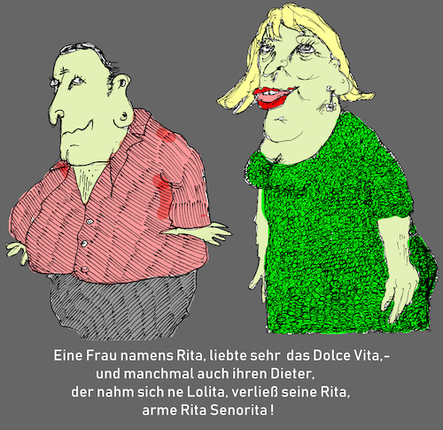 Cartoon: Rita Dolce Vita (medium) by Marbez tagged liebe,leid,leidenschaft