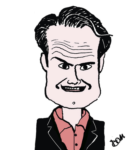 Cartoon: Jimmy Carr (medium) by Dom Richards tagged caricature,comedian,tax,dodge,celebrity