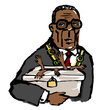 Cartoon: Robert Mugabe (small) by Dom Richards tagged robert,mugabe,dictator,election,fraud