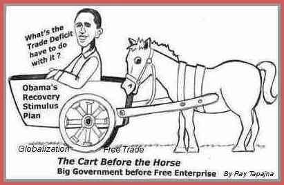 Cartoon: Obama Cart before horse economy (medium) by ray-tapajna tagged obama,bailouts,big,money,economic,crisis,workers,lost,trade,deficit,stimulus,package,globalist,freetrader