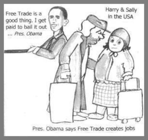 Cartoon: Pres Obama job bill ? (medium) by ray-tapajna tagged pres,obama,free,trade,jobless,underclass,working,poor,homeless,economic,crisis