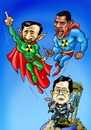 Cartoon: Nuclear Missiles (small) by Hilmi Simsek tagged nuclear,missile,usa,iran,north,korea,superman,world,hilmi,simsek,cartoon,obama,ahmadinejad,caricature
