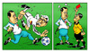 Cartoon: Turkey - Germany football match (small) by Hilmi Simsek tagged turkey germany soccer football tayyip erdogan sarrazin adolf hitler