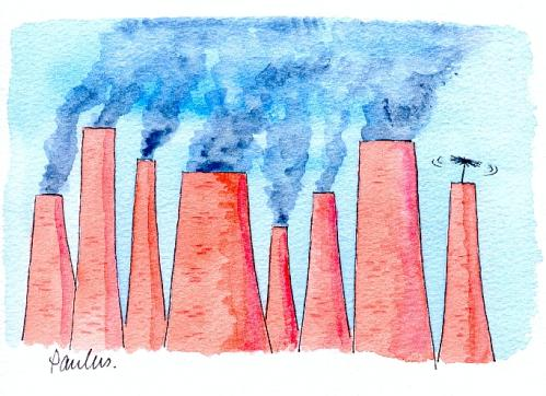 Cartoon: Chimneys (medium) by Paulus tagged pollution,industry,architecture,