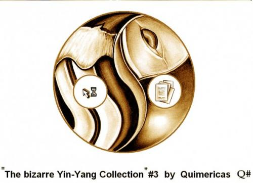 Cartoon: THE BIZARRE YIN YANG COLLECTION (medium) by QUIM tagged yin,yang,,yin,yang,maus,computer,zeiger,sanduhr,pc,mac,dokumente,radmaus