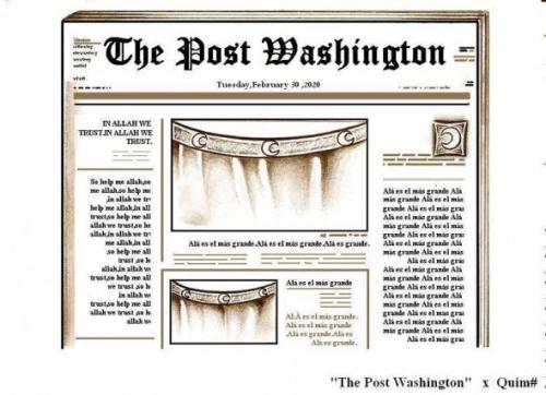 Cartoon: THE POST WASHINGTON (medium) by QUIM tagged islamic,press,america,presse,islam,koran,religion,terror,allah,holocaust,amerika,usa,glaube,vertrauen,hilfe,washington,post,zeitung