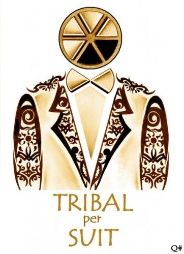 Cartoon TRIBAL PERSUIT medium by QUIM tagged tribaltatoosuit