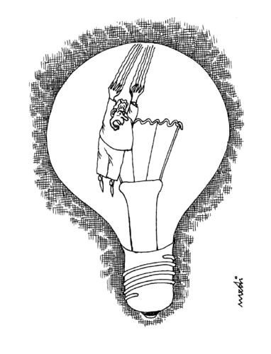 Cartoon: by sliding the success (medium) by Medi Belortaja tagged bulb,light,abyss