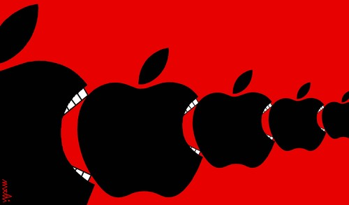 Cartoon: apples hunger (medium) by Medi Belortaja tagged eat,hungry,hunger,apples,ipad,mac,apple,eating,capitalism