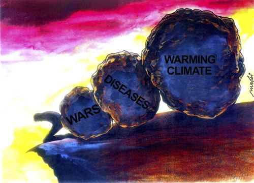 Cartoon: big stones of millenium (medium) by Medi Belortaja tagged diseases,war,abyss,danger,millenium,stones,warming,climate
