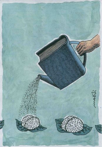 Cartoon: book (medium) by Medi Belortaja tagged brain,plants,book,irrigation,educatin