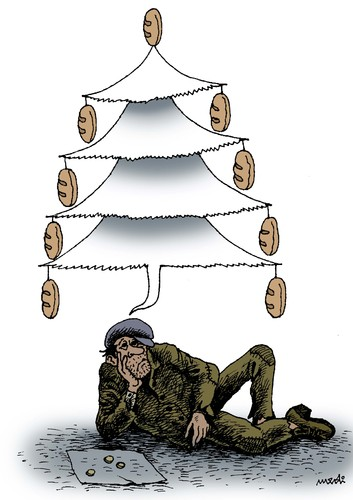 Cartoon: christmas dream (medium) by Medi Belortaja tagged christmas,dream,poor,poverty,beggar,beggary,financial,crisis,bread,hunger,hungry