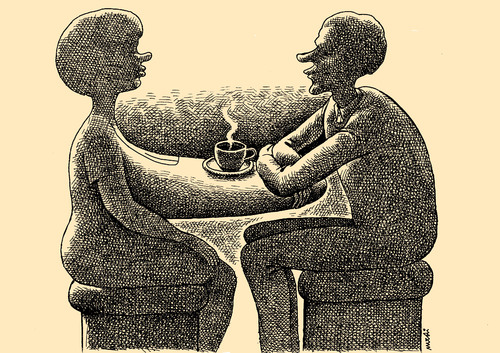 Cartoon: comfortable table (medium) by Medi Belortaja tagged lovers,love,woman,man,breast,talking,coffee,table,comfortable