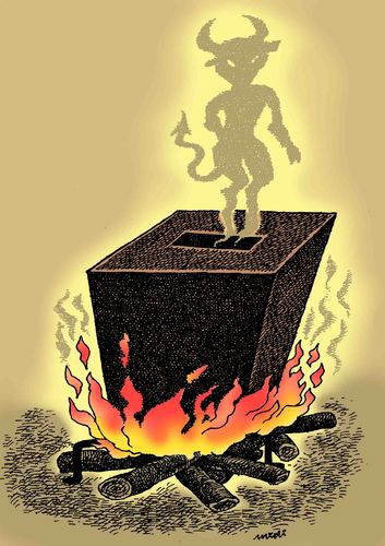 Cartoon: devil of manipulation (medium) by Medi Belortaja tagged manipulation,of,devil,ballot,box,elections