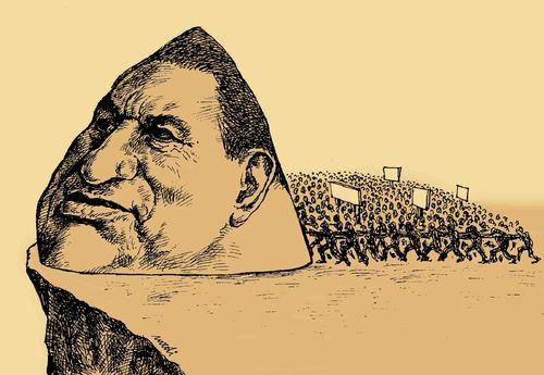 Cartoon: egyptian protests (medium) by Medi Belortaja tagged egyptian,