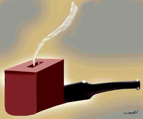 Cartoon: election pipe (medium) by Medi Belortaja tagged pipe,elections,ballot,box