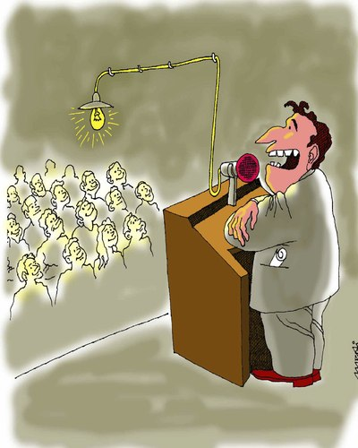 Cartoon: electricity from leader (medium) by Medi Belortaja tagged leader,head,speech,light,energy,electricity