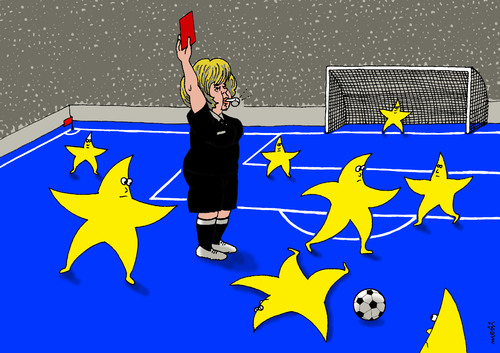 Cartoon: EU stars players (medium) by Medi Belortaja tagged eu,europe,stars,players,soccer,football,merkel