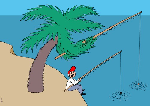 Cartoon: fishing (medium) by Medi Belortaja tagged fishing,fish,fisherman,palm