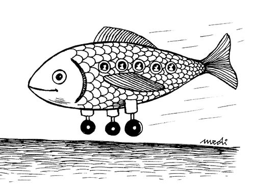 Cartoon: fish plane (medium) by Medi Belortaja tagged plane,fish,humor