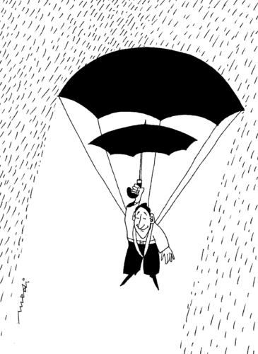 Cartoon: Jumper in rain (medium) by Medi Belortaja tagged paraschutist,rain,jumper,umbrella,humor