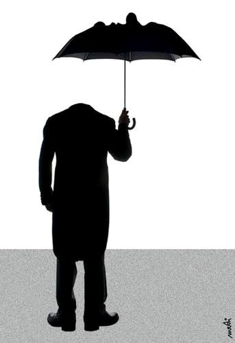 man with umbrella by medi belortaja philosophy cartoon toonpool