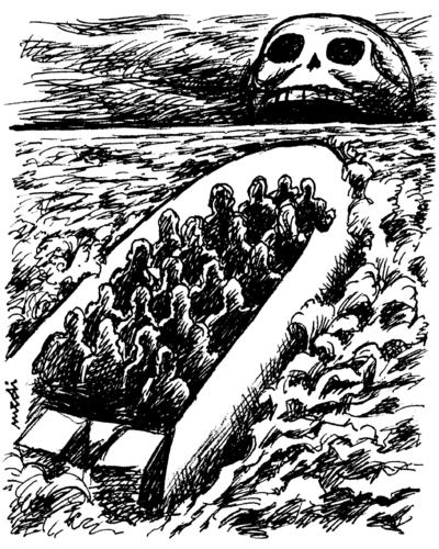Cartoon: migrants at sea (medium) by Medi Belortaja tagged poverty,immigrants,emigrant,death,immigration,sea