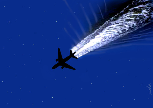 Cartoon: night sky (medium) by Medi Belortaja tagged night,sky,plane,flying,swim