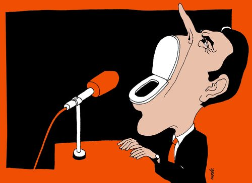 Cartoon: political speech (medium) by Medi Belortaja tagged politicians,political,mouth,meeting,lashing,toiled,speech