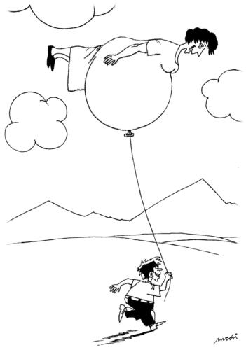 Cartoon: pregnant woman and little son (medium) by Medi Belortaja tagged game,balloon,kid,woman,pregnant,joke,humor