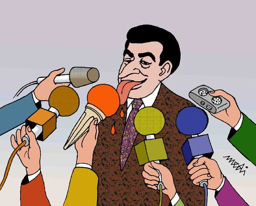 Cartoon: press conference (medium) by Medi Belortaja tagged cream,ice,microphones,conference,press