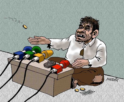 Cartoon: press conference of beggar (medium) by Medi Belortaja tagged man,poverty,beggary,beggar,conference,press