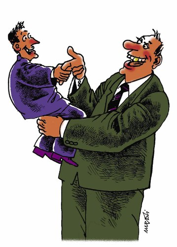 Cartoon: shaking hands (medium) by Medi Belortaja tagged hands,shaking,tutelage,friendship,bussines