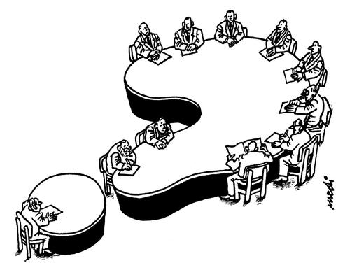 Cartoon: tables question (medium) by Medi Belortaja tagged head,negotiations,meeting,table,rounded,question,mark