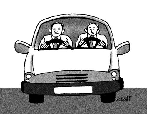 Cartoon: drivers (medium) by Medi Belortaja tagged drivers,wheel,car,men,heads