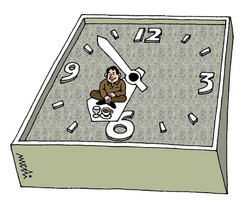 Cartoon: the unployed man (medium) by Medi Belortaja tagged clock,man,unployed