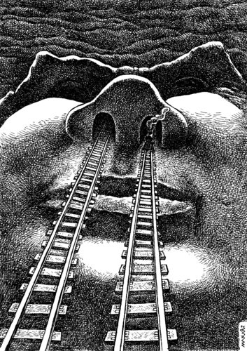 Cartoon: train tunnels (medium) by Medi Belortaja tagged trip,face,railways,nose,tunnels,train