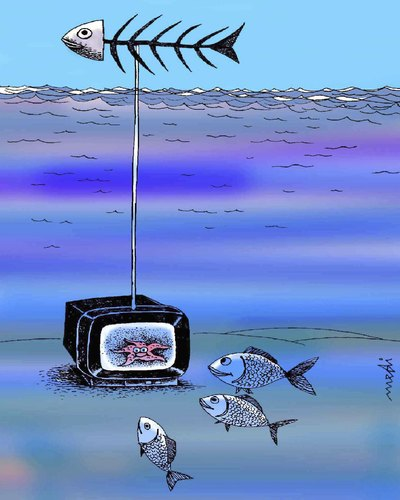 Cartoon: tv (medium) by Medi Belortaja tagged antenne,fish,tv