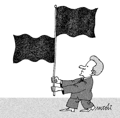 Cartoon: two flags (medium) by Medi Belortaja tagged head,flags,standardbearer,politicians