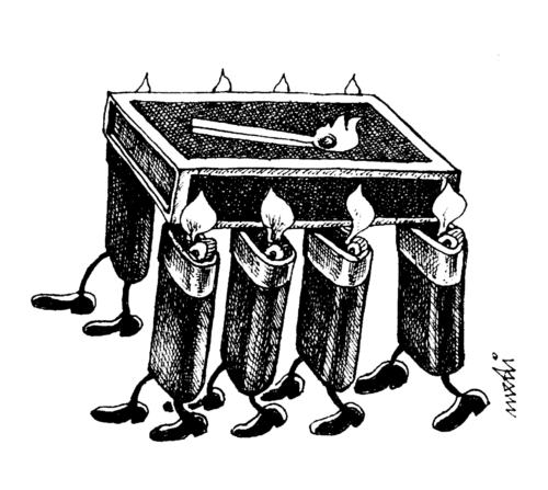 Cartoon: burial of the match (medium) by Medi Belortaja tagged lighter,coffin,match,burial