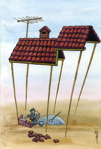 Cartoon: paradox in construction (medium) by Medi Belortaja tagged workers,roof,house,building,construction