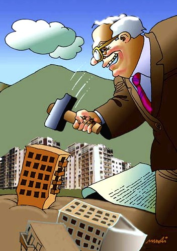 Cartoon: constructors of buildings (medium) by Medi Belortaja tagged hammer,buildings,constructors,environment,ecology