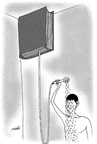 Cartoon: shower from the book (medium) by Medi Belortaja tagged capitalize,book,shower